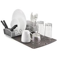 Polder Fold Away Dish Rack Mat Drainer Cutlery Knife Holder Roll Up Kitchen