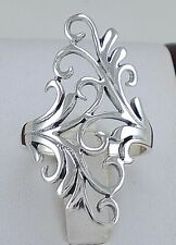 ELEGANT .925 STERLING SILVER LONG FILIGREE FLORAL RING size 7  style# r2208