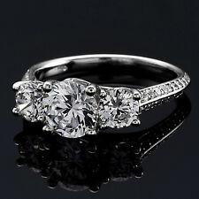 3 Three Stone Solitaire 1.55 Carat Round Cut Diamond Engagement Ring White Gold