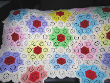 Vintage Afghan Blanket Handmade Crochet Throw Flower Garden Lap Chair Cover Bed