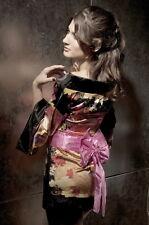 Kimono Japonais en Satin Elégant et sexy avec ceinture noeud Rose