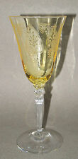 Fostoria TROJAN etched Antique TOPAZ Water Goblet Yellow Wine Glass MINT