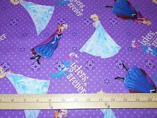 """1 yard Disney """"Frozen Sisters Forever"""" Character Toss  Fabric"""