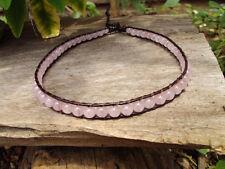 Rose quartz Anklets,Stone anklets,Leather anklets
