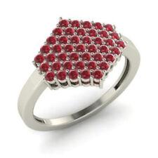 0.86 Ct Round Natural Gemstone Engagement Ruby Ring 14K White Gold Size M