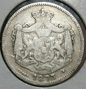 1873  1 Leu Silver. ROMANIA - CAROL I. Scarce