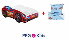 Racing Car Childrens Bed with mattress, bedding & duvet cover (140x70cm) 4 Kids