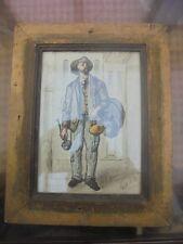 le marchand de cuivre aquarelle XIXème signé Laurent encadré sous verre