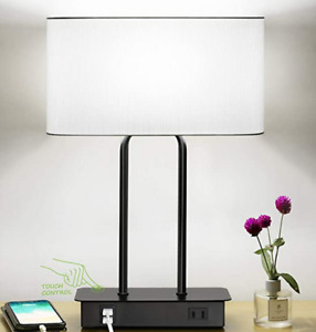 Bedside Touch Control Table Lamp with Dual USB Charging Ports 1 AC Outlet 3 Way