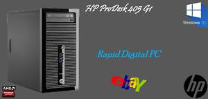 HP ProDesk 405 G1 AMD E1 2500 4Gigs 500Gig HDD Windows 10 Pro 64x