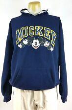 Vintage Mickey Mouse Pullover Hoodie Hooded Sweatshirt XL Walt Disney Blue GUC