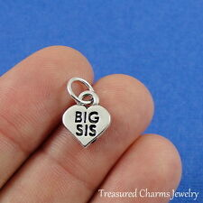 .925 Sterling Silver BIG SISTER HEART CHARM PENDANT