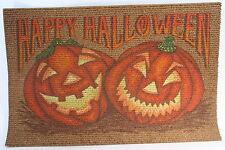 "Large Happy Halloween Pumpkins Outside Door Mat W/ Bright Colors -30"" L x 20"" W"