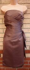 JJ'S HOUSE BROWN BANDEAU CORSET RUCHED TUBE BODYCON A LINE PARTY DRESS S 8 10
