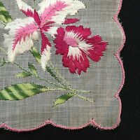 Vintage Pink White Green Floral Corner Embroidered Handkerchief Scalloped Edges