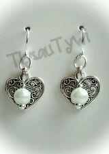 Hearts & Pearl Earrings..Silver Plated Hooks...Filigree Hearts...