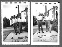Lot of 2 VTG 1950s Photos Snapshots TWO GUYS PLAYING SHUFFLE BOARD