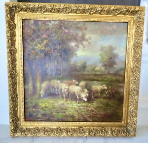"""Sheep Grazing in Scotland"" Original Framed OIL PAINTING 45""W X 46.5""H X 3""depth"