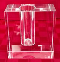 """Clear Glass Block Bud Vase -Crystal? - 4 1/4"""" Tall-Paper Weight-Pen Holder-Heavy"""