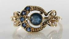 DIVINE 9CT 9K GOLD SUN MOON BLUE SAPPHIRE & PEARL ART DECO INS RING FREE RESIZE