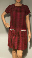 Dorothy Perkins Womens Tweed Wool Retro Style Short Dress UK Size 8 Red Mix New