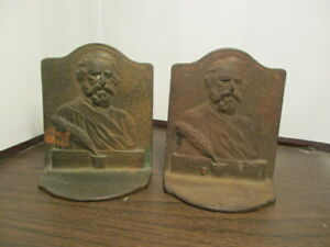 PAIR OF HENRY W. LONGFELLOW BUST EMBOSSED BOOKENDS - CAST IRON