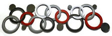 """Contemporary Modern Red n Grey Circle Design Wall Sculpture W/ Mirrors 48"""" x 14"""""""