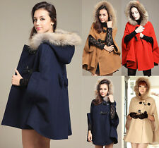 4-16 Oversize Hooded Poncho Cape Womens Coat Winter Warm Faux Fur Jacket Cloak