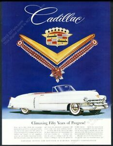 1952 Cadillac convertible white car art ruby necklace photo vintage print ad