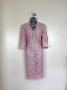 🌺Jacques Vert Size 14 to 16  Pink Lace Dress & Jacket  Mother of Bride  Groom🌺