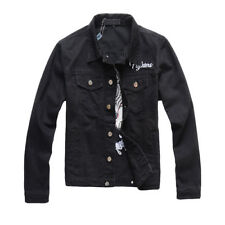 New Italy Pop Style Men Moto Coat Embroidery Black Denim Biker Jacket A416 M-4XL