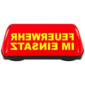 Dachaufsetzer SPEED Feuerwehr im Einsatz Spiegelschrift Magnet rot TÜV 240 km/h