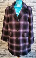 M&S purple mix wool mohair blend checked single breasted coat size 12 uk