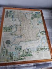VINTAGE MEDIEVAL ENGLAND MAP 31 x 24 ins PRINTED IN WASHINGTON 1979.