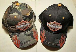 Harley Davidson Motorcycle Biker BallCap Hat NEW Black & Camo Orange Flames OSFM