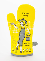 Blue Q Funny Novelty Oven Mitt, I'm Not Bossy. I'm The Boss., Yellow/Grey, New