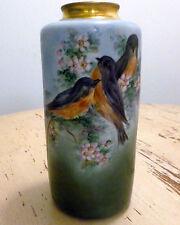 """Royal Vienna Austria Cylinder Vase w/ Birds Gold Neck 11"""""""