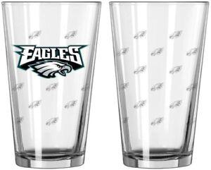 Philadelphia Eagles 16 oz Satin Etch Logo Pint Glass Set (2 Glasses)