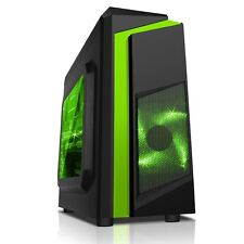 CiT F3 Black Midi ATX Gaming PC Case 12cm Green LED Fan USB 3.0 Side Window