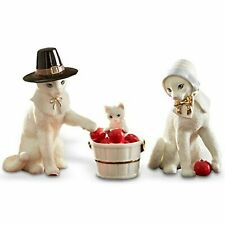 Lenox Feline Pilgrim Family Set of 3 Thanksgiving Cat Figurines New In Box