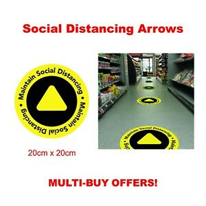 Floor / Wall decals stickers Arrow 2m social distancing Keep your distance shops