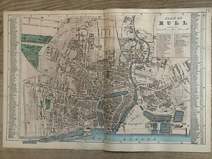 1884 Kingston Upon Hull City Plan Antique Hand Coloured Map by Edward Weller