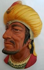 Bossons Saracan Chalkware Head Wall Hanging, Made in England - Excellent w/tag