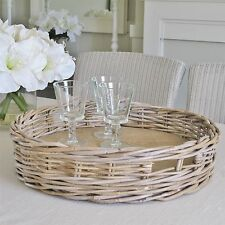 Large Grey Wash Rattan Wicker Round Serving Tray