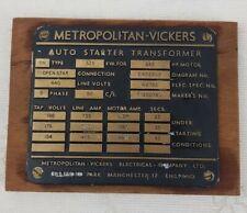 Original  old industrial Cast Brass Machine Plate Metropolitan Vickers