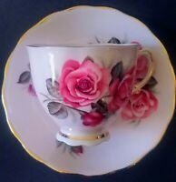 COLCLOUGH - CUP AND SAUCER - LARGE  ROSE  CABBAGE PINK RED EUC!