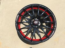 "17"" SPEEDY Wheels Lite Fin Black/ReD 17x7.5 4lug 8hole 4X100 & 4x114 et 45"
