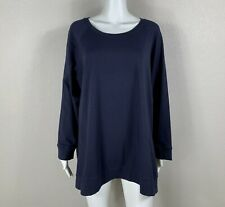 EILEEN FISHER Woman Organic Cotton Stretch Pullover Top Midnight Navy-Blue 2X