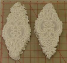 "24 white appliques embroidered flower designs on organza gimp outline 7.5"" lace"