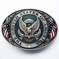 Buckle USA Wappen, mit Adler & Flaggen, Amerika, Gürtelschnalle
